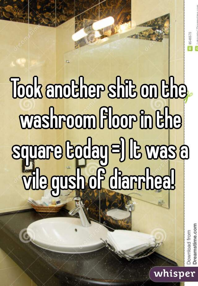 Took another shit on the washroom floor in the square today =) It was a vile gush of diarrhea!