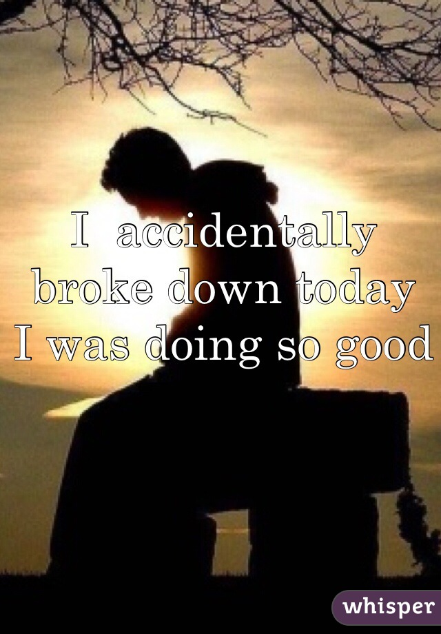 I  accidentally broke down today  I was doing so good
