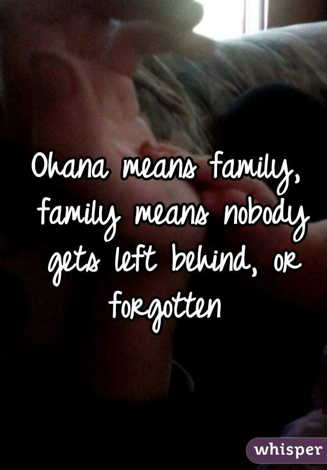Ohana means family, family means nobody gets left behind, or forgotten