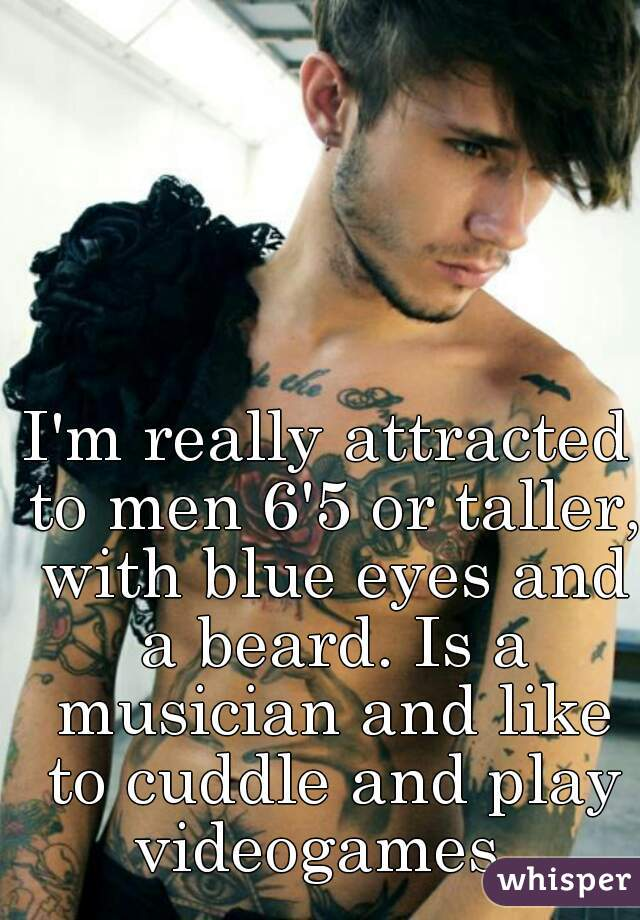I'm really attracted to men 6'5 or taller, with blue eyes and a beard. Is a musician and like to cuddle and play videogames.