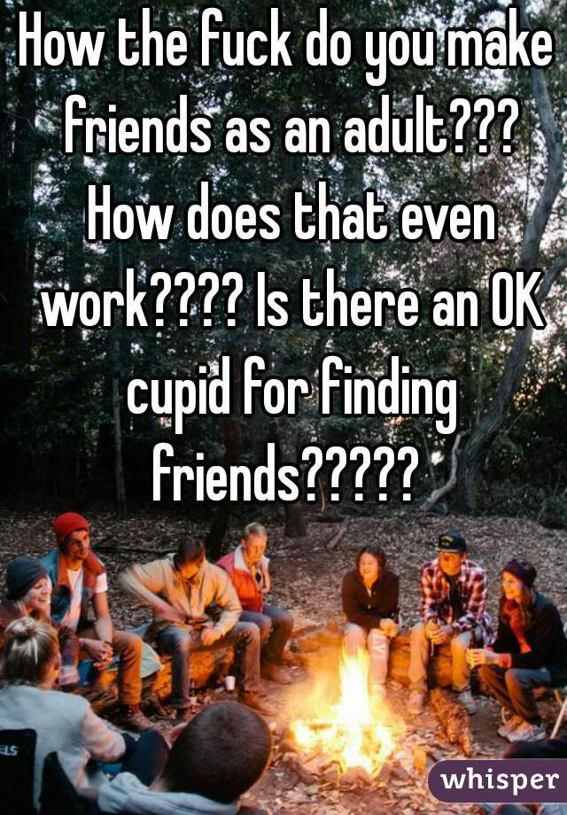 How the fuck do you make friends as an adult??? How does that even work???? Is there an OK cupid for finding friends?????