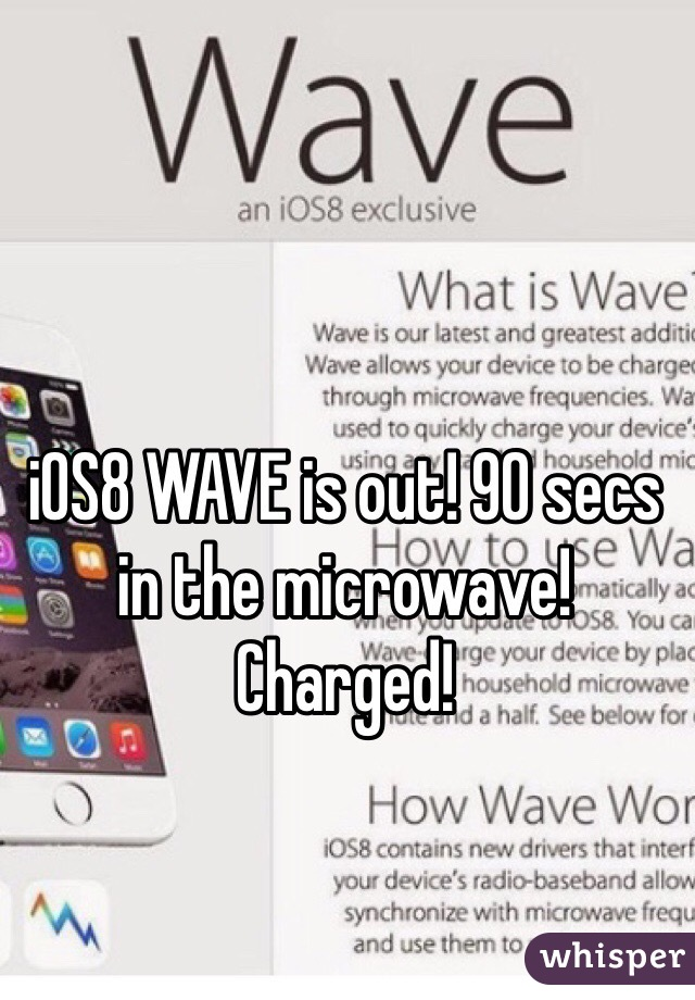 iOS8 WAVE is out! 90 secs in the microwave!  Charged!