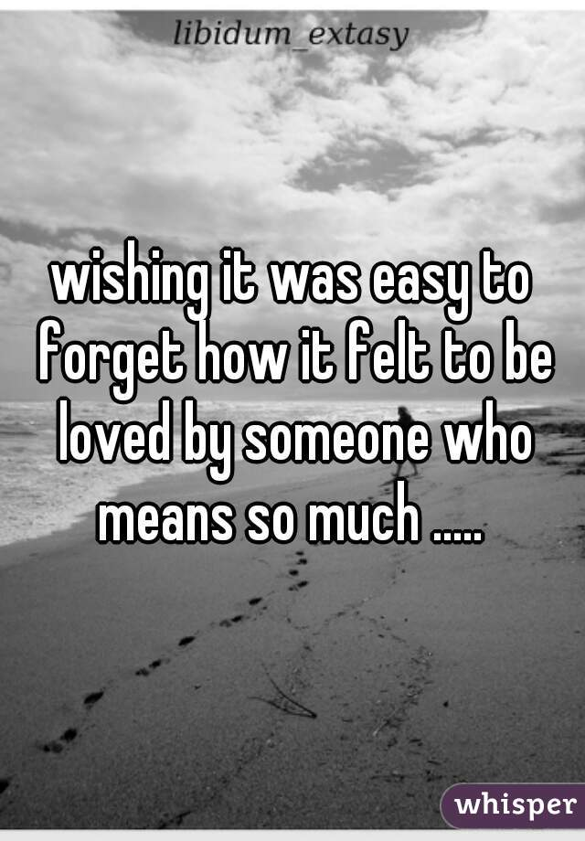 wishing it was easy to forget how it felt to be loved by someone who means so much .....