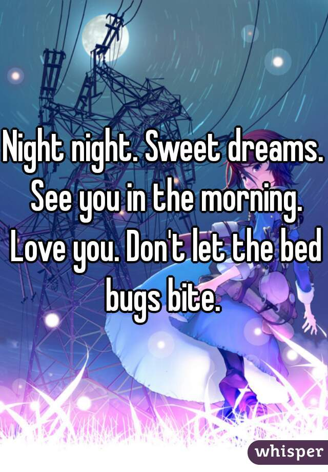 Night night. Sweet dreams. See you in the morning. Love you. Don't let the bed bugs bite.