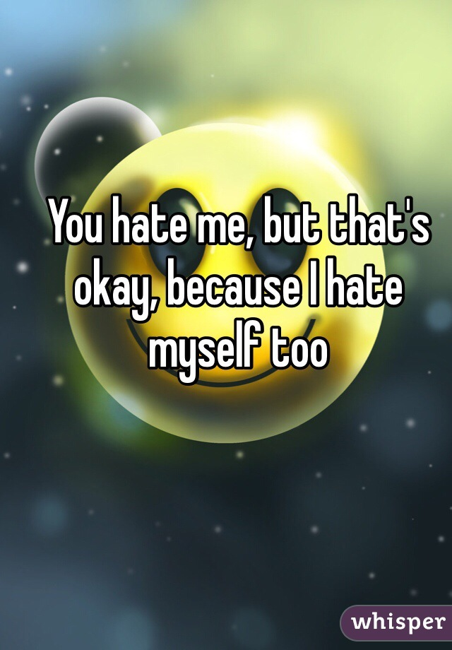You hate me, but that's okay, because I hate myself too