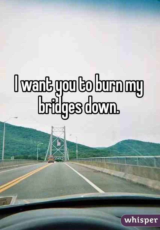 I want you to burn my bridges down.