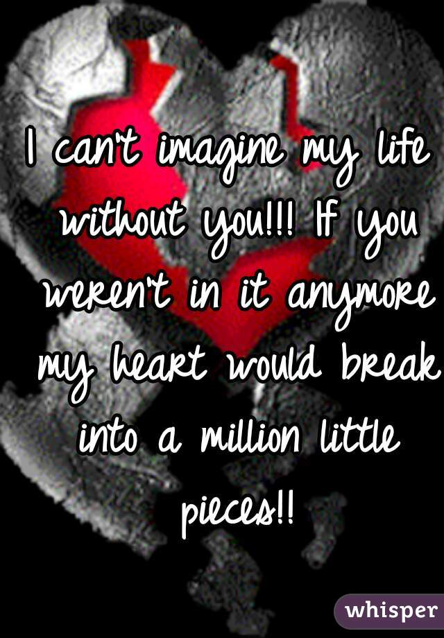 I can't imagine my life without you!!! If you weren't in it anymore my heart would break into a million little pieces!!