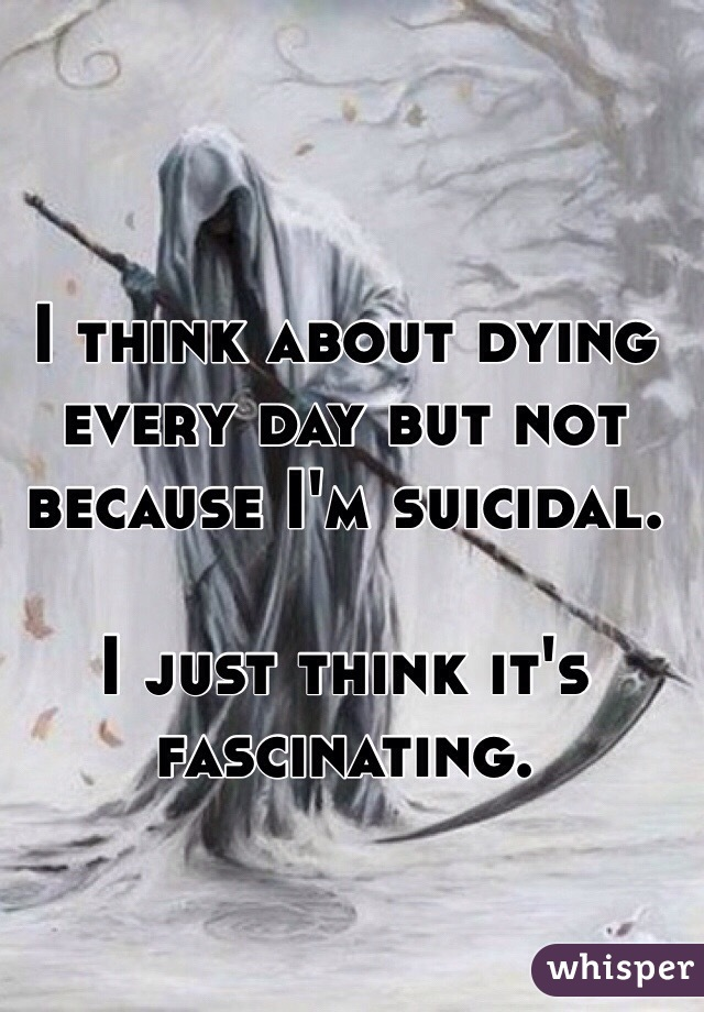 I think about dying every day but not because I'm suicidal.   I just think it's fascinating.