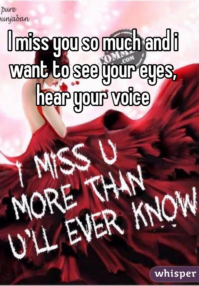 I miss you so much and i want to see your eyes, hear your voice
