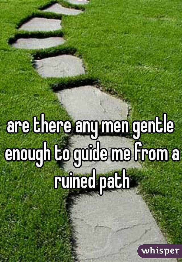 are there any men gentle enough to guide me from a ruined path