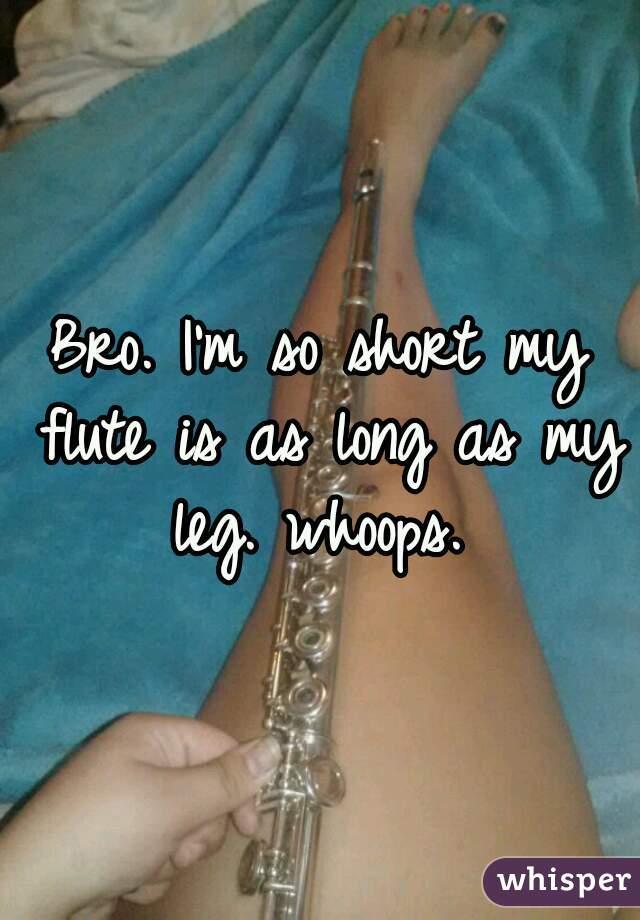 Bro. I'm so short my flute is as long as my leg. whoops.