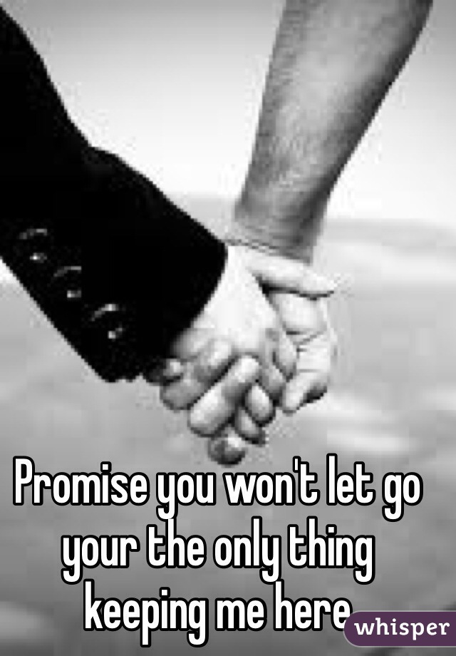 Promise you won't let go your the only thing keeping me here