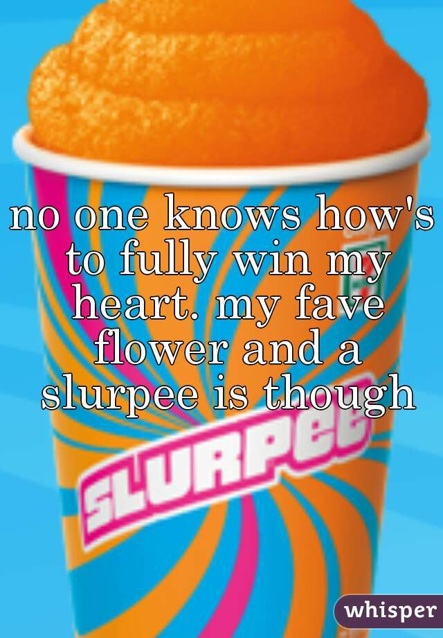 no one knows how's to fully win my heart. my fave flower and a slurpee is though