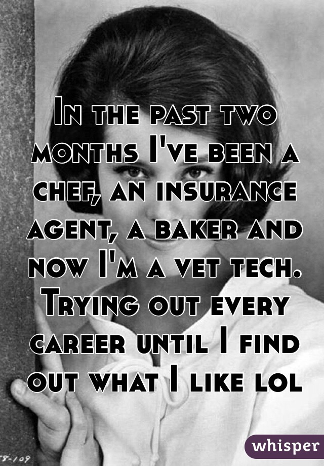 In the past two months I've been a chef, an insurance agent, a baker and now I'm a vet tech. Trying out every career until I find out what I like lol
