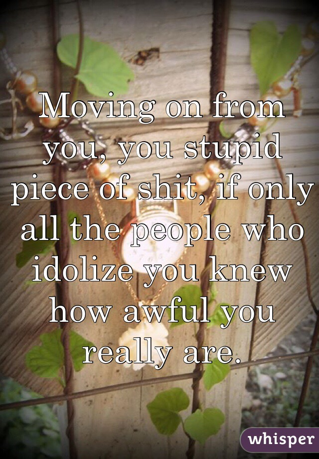 Moving on from you, you stupid piece of shit, if only all the people who idolize you knew how awful you really are.