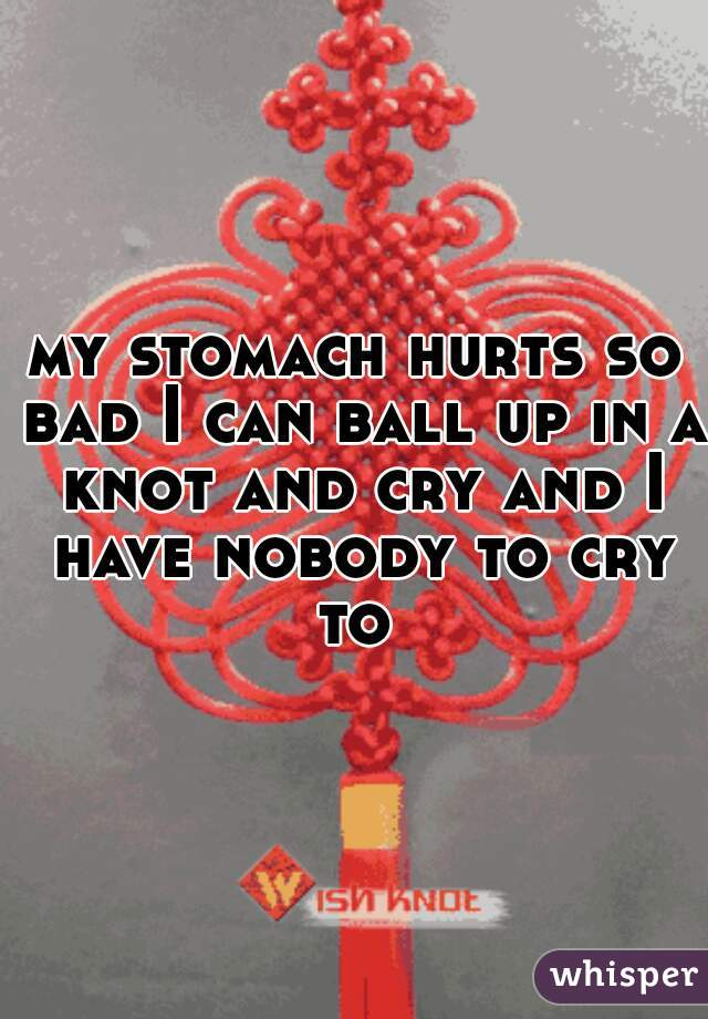 my stomach hurts so bad I can ball up in a knot and cry and I have nobody to cry to