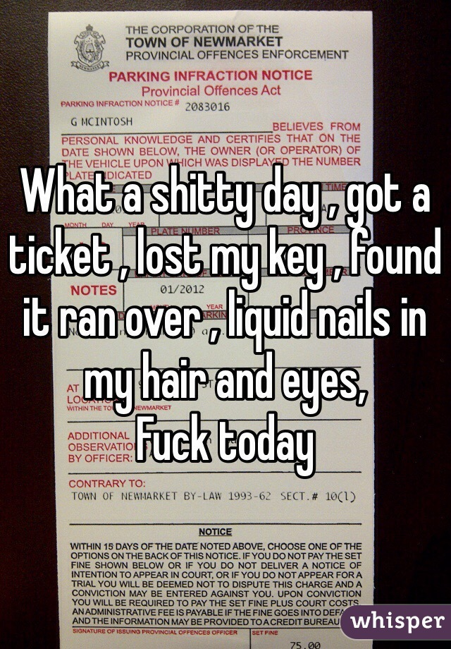 What a shitty day , got a ticket , lost my key , found it ran over , liquid nails in my hair and eyes, Fuck today