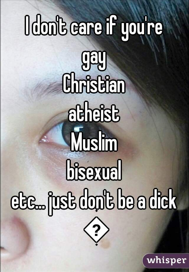 I don't care if you're gay Christian atheist Muslim bisexual etc... just don't be a dick 👍