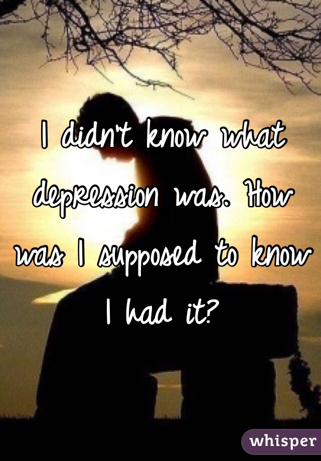 I didn't know what depression was. How was I supposed to know I had it?
