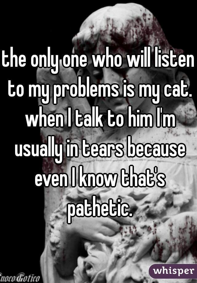 the only one who will listen to my problems is my cat. when I talk to him I'm usually in tears because even I know that's pathetic.