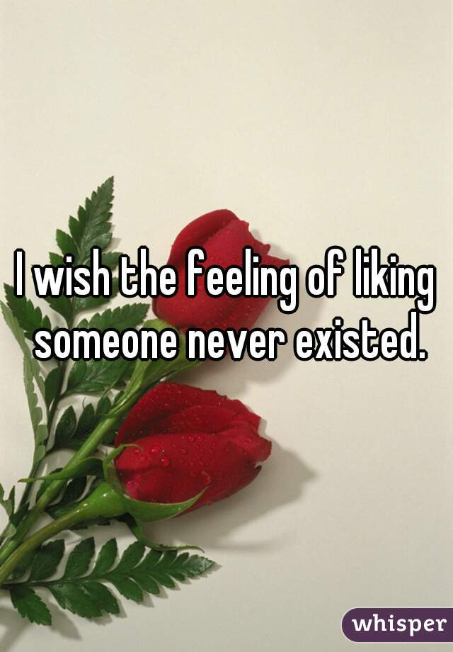 I wish the feeling of liking someone never existed.