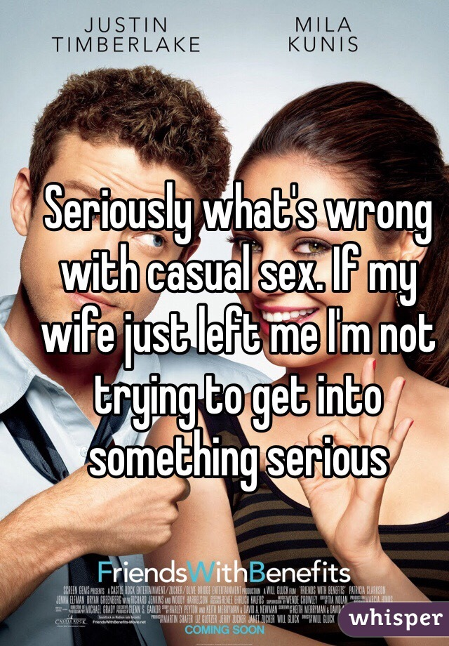 Seriously what's wrong with casual sex. If my wife just left me I'm not trying to get into something serious
