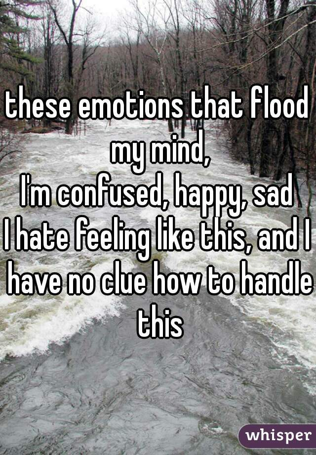 these emotions that flood my mind, I'm confused, happy, sad I hate feeling like this, and I have no clue how to handle this