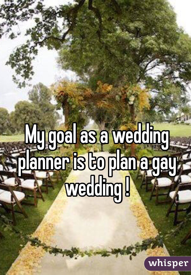 My goal as a wedding planner is to plan a gay wedding !