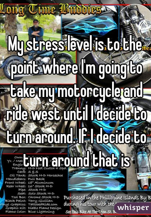 My stress level is to the point where I'm going to take my motorcycle and ride west until I decide to turn around. If I decide to turn around that is