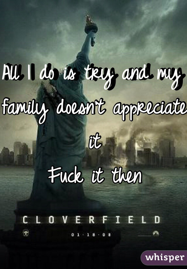 All I do is try and my family doesn't appreciate it Fuck it then