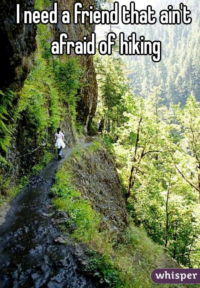 I need a friend that ain't afraid of hiking