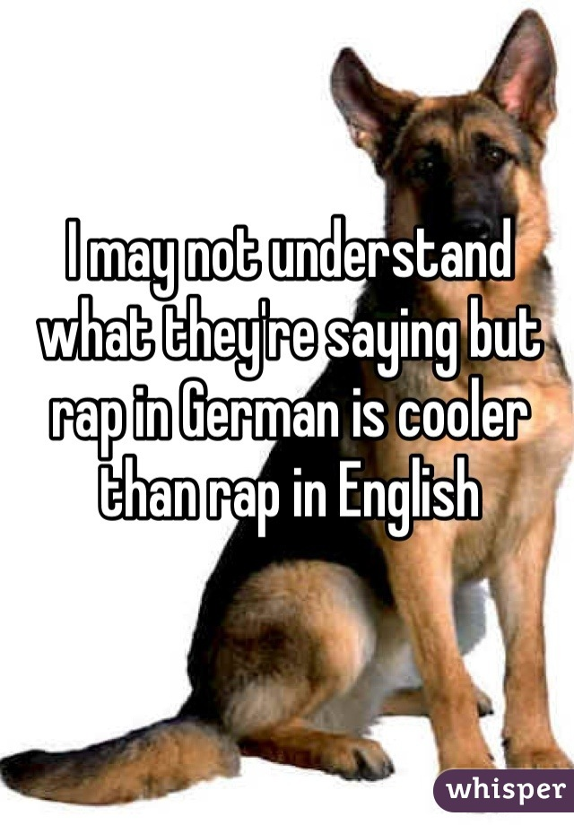 I may not understand what they're saying but rap in German is cooler than rap in English