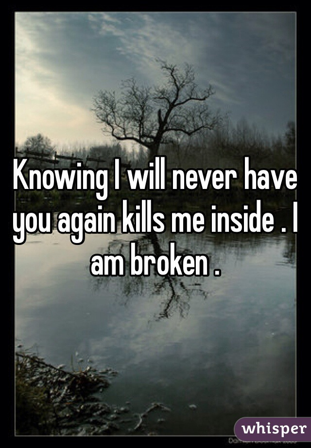 Knowing I will never have you again kills me inside . I am broken .
