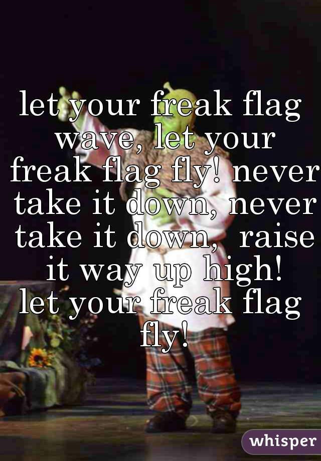 let your freak flag wave, let your freak flag fly! never take it down, never take it down,  raise it way up high! let your freak flag fly!