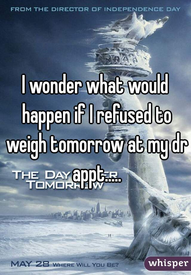 I wonder what would happen if I refused to weigh tomorrow at my dr appt.....