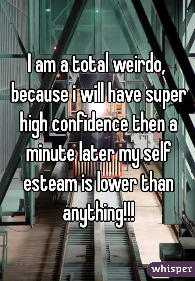 I am a total weirdo, because i will have super high confidence then a minute later my self esteam is lower than anything!!!