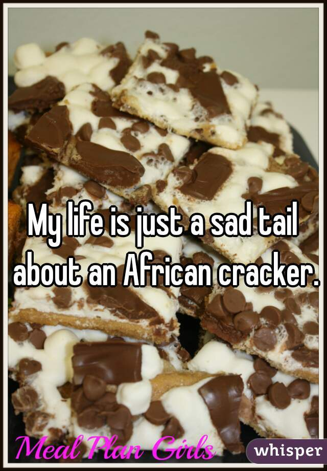 My life is just a sad tail about an African cracker.