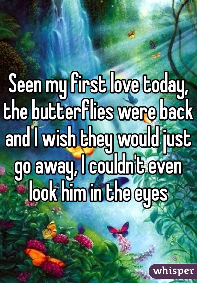 Seen my first love today, the butterflies were back and I wish they would just go away, I couldn't even look him in the eyes