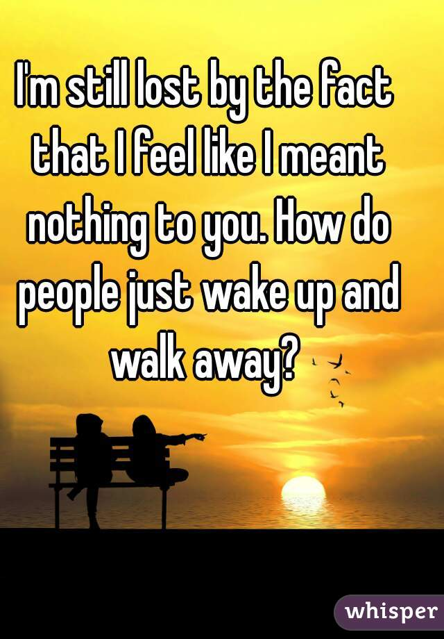 I'm still lost by the fact that I feel like I meant nothing to you. How do people just wake up and walk away?