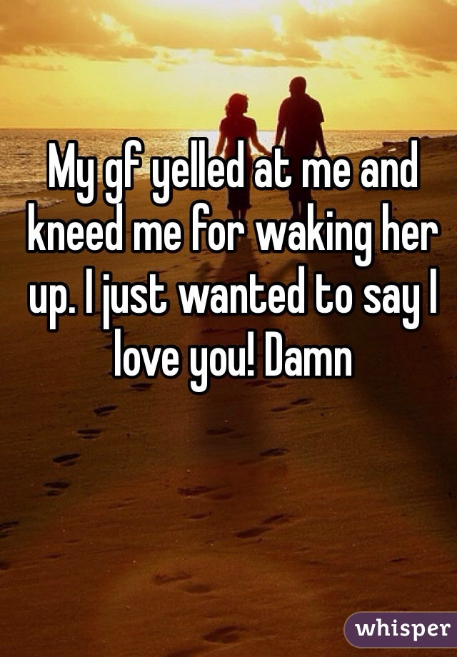 My gf yelled at me and kneed me for waking her up. I just wanted to say I love you! Damn