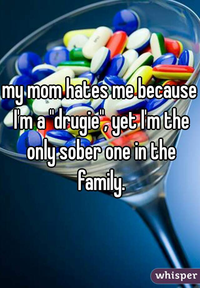 "my mom hates me because I'm a ""drugie"", yet I'm the only sober one in the family."