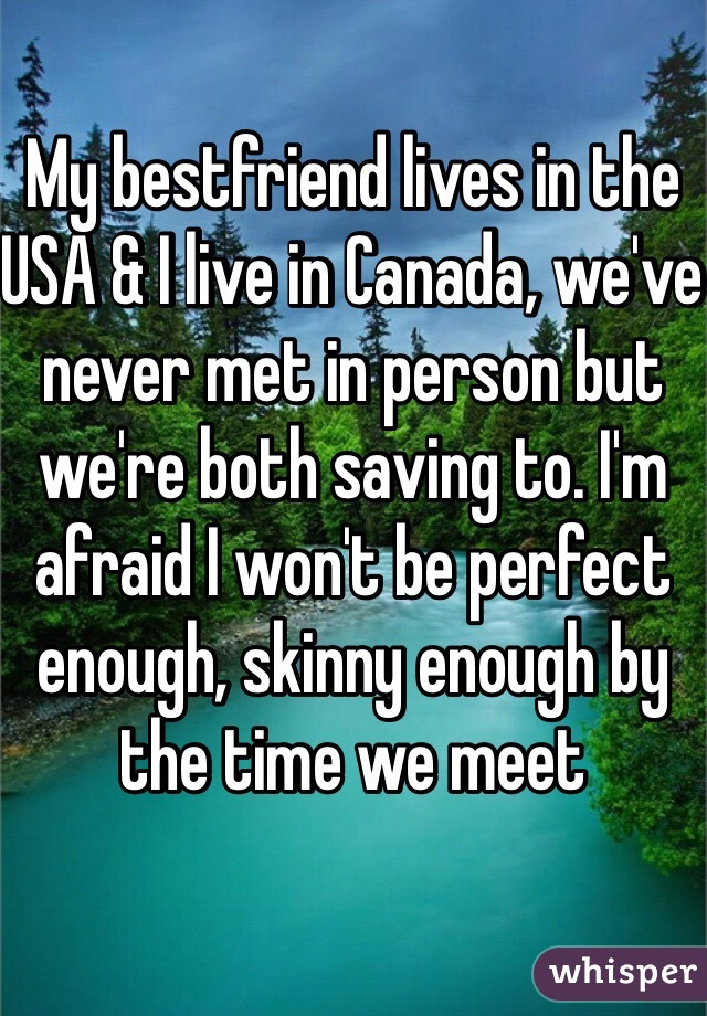 My bestfriend lives in the USA & I live in Canada, we've never met in person but we're both saving to. I'm afraid I won't be perfect enough, skinny enough by the time we meet