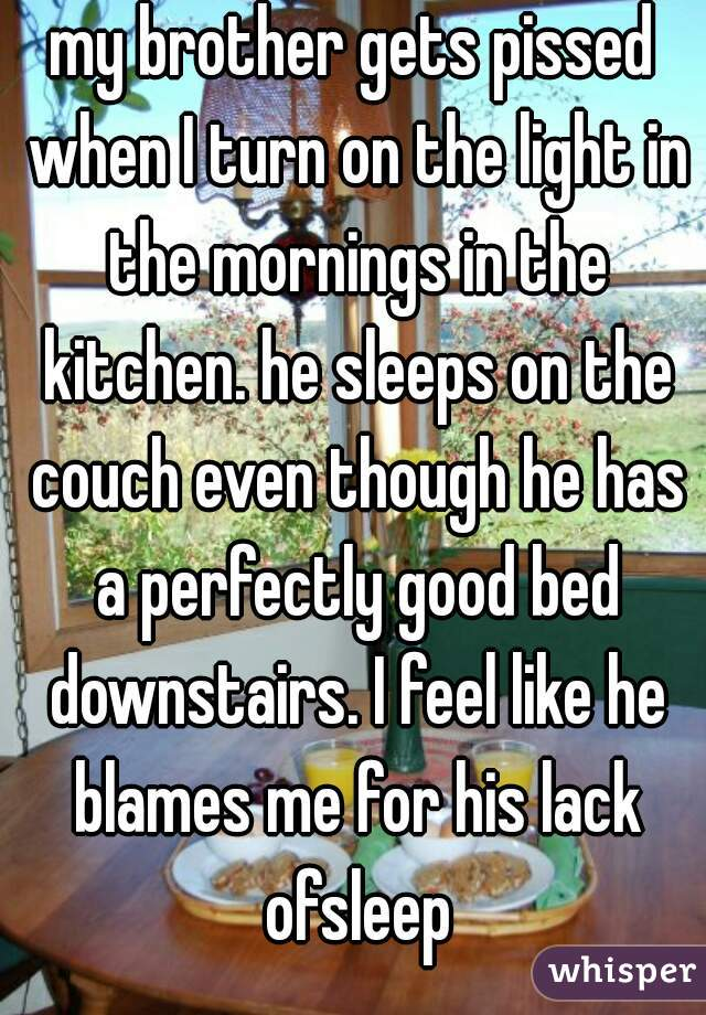 my brother gets pissed when I turn on the light in the mornings in the kitchen. he sleeps on the couch even though he has a perfectly good bed downstairs. I feel like he blames me for his lack ofsleep