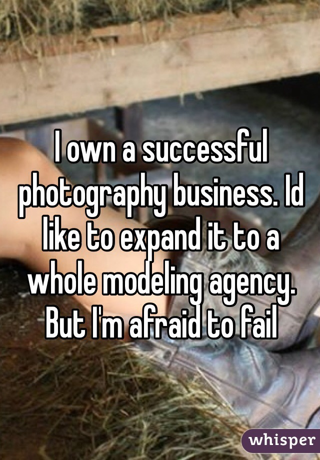 I own a successful photography business. Id like to expand it to a whole modeling agency. But I'm afraid to fail