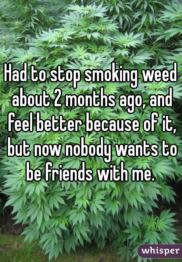 Had to stop smoking weed about 2 months ago, and feel better because of it, but now nobody wants to be friends with me.