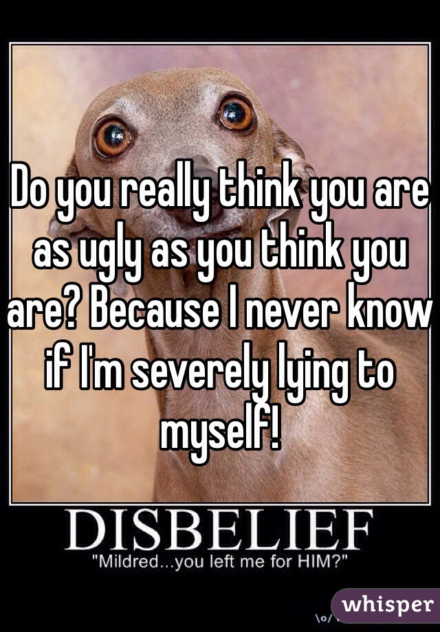 Do you really think you are as ugly as you think you are? Because I never know if I'm severely lying to myself!