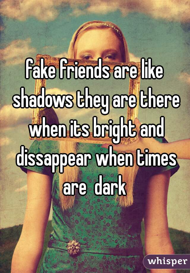 fake friends are like shadows they are there when its bright and dissappear when times are  dark