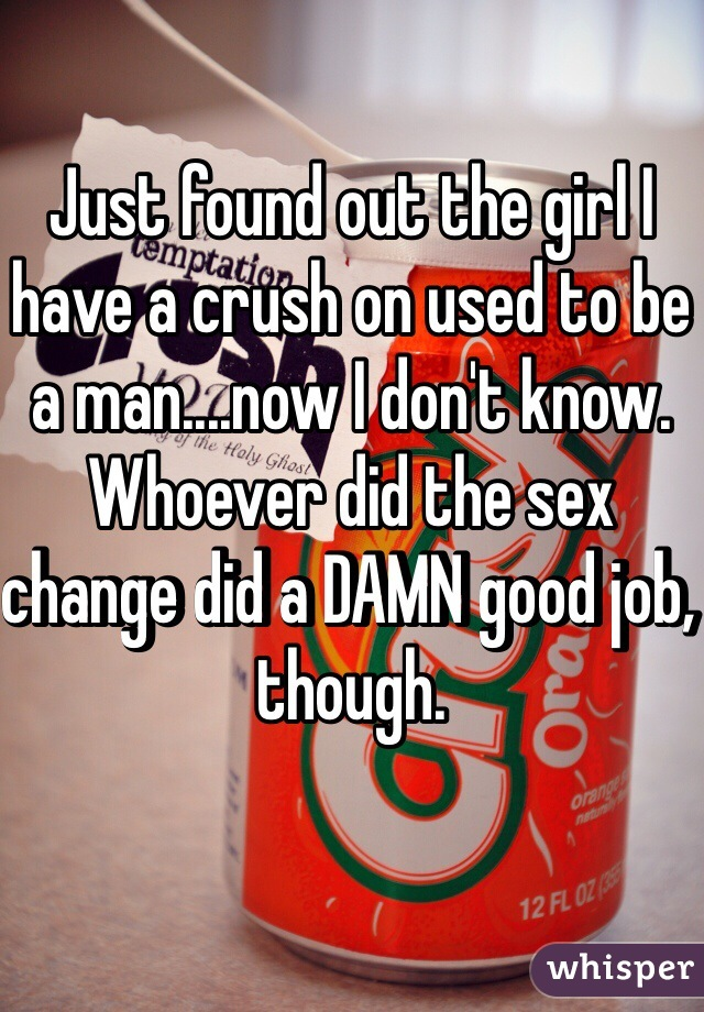 Just found out the girl I have a crush on used to be a man....now I don't know. Whoever did the sex change did a DAMN good job, though.