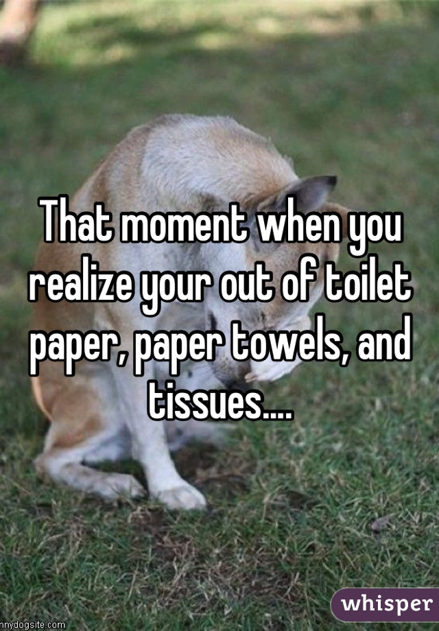 That moment when you realize your out of toilet paper, paper towels, and tissues....