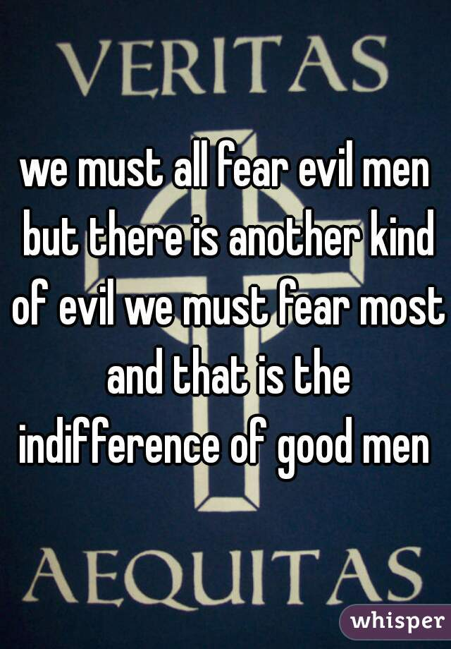 we must all fear evil men but there is another kind of evil we must fear most and that is the indifference of good men